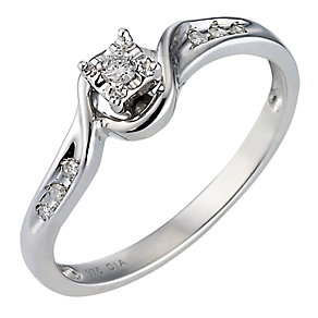 9ct White Gold Diamond Solitaire Ring - Product number 6851789