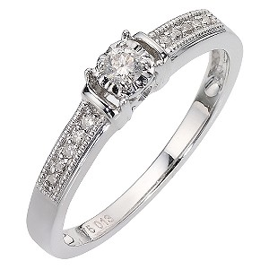 9ct White Gold 12 Pt Diamond Ring - Product number 6851924