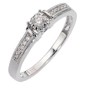 9ct White Gold 12 Pt Diamond Ring