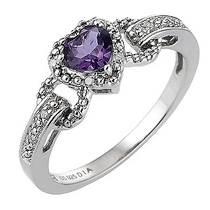 Silver, Diamond and Amethyst Heart Ring - Product number 6852408