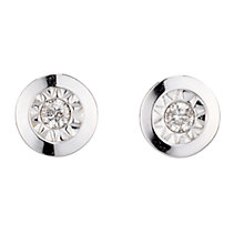 9ct White Gold Diamond Stud Earrings - Product number 6852688