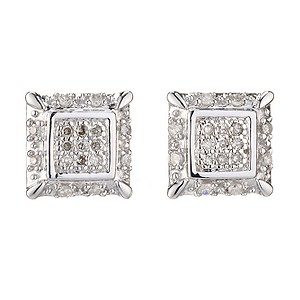9ct White Gold Diamond Square Stud Earrings - Product number 6853498