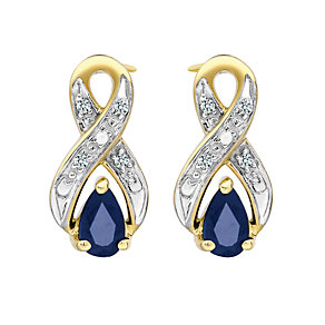 9ct Yellow Rhodium Plated Sapphire Earrings - Product number 6853676