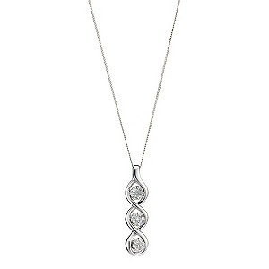 9ct White Gold 12pt Diamonds Three Stone Pendant - Product number 6853773
