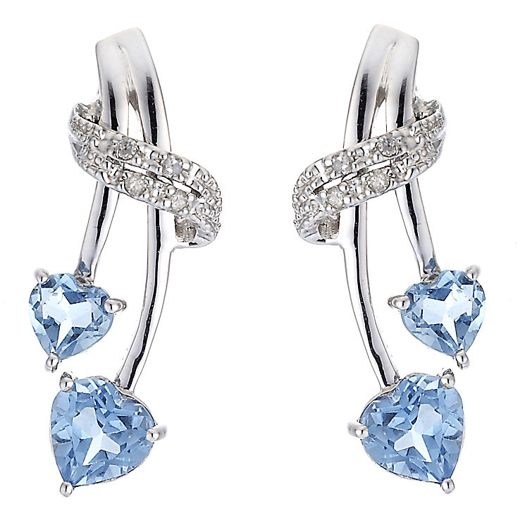 Silver, Diamond and Blue Topaz Earrings - Product number 6853897