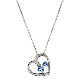 Silver, Diamond and Blue Topaz Heart Pendant - Product number 6853900