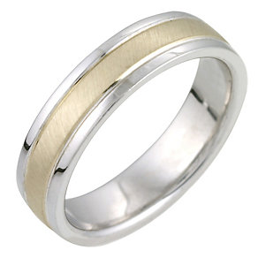 Ladies' Sterling Silver and 9ct Gold 5mm Ring - Product number 6856527