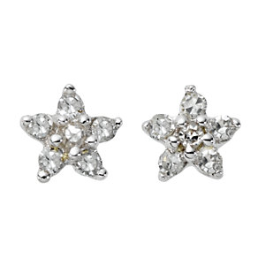 9ct white gold diamond flower stud earrings - Product number 6861172
