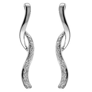 9ct white gold diamond drop earrings - Product number 6861180