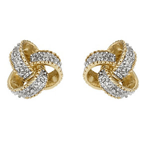 9ct yellow gold & diamond knot stud earrings - Product number 6861482