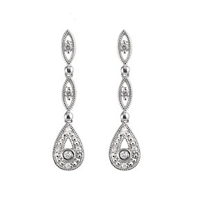 9ct white gold & diamond vintage earrings - Product number 6861547