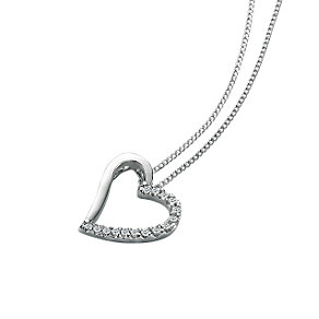 9ct white gold diamond heart pendant - Product number 6861601