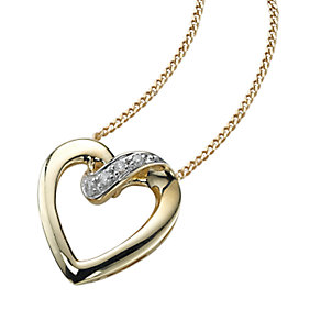 9ct gold diamond heart pendant - Product number 6861806