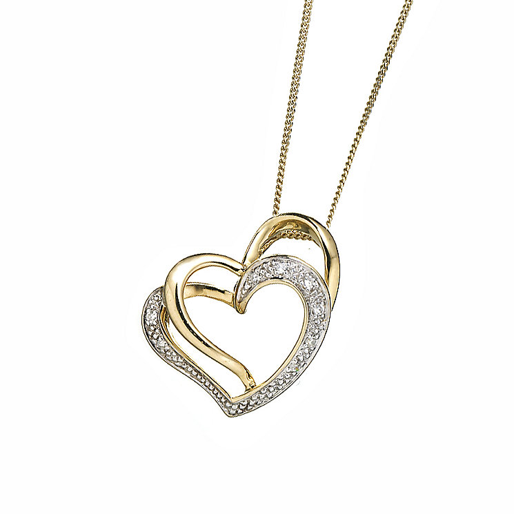 9ct gold diamond heart pendant. - Product number 6863086