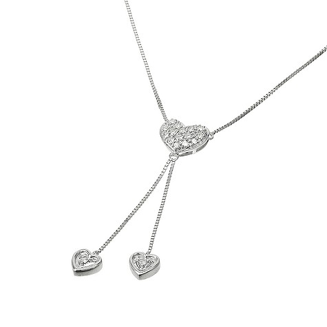 9ct white gold diamond pave heart drop necklace