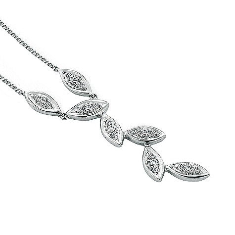 9ct white gold diamond leaf necklace
