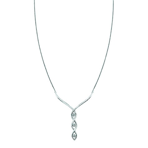 9ct white gold diamond trilogy necklace