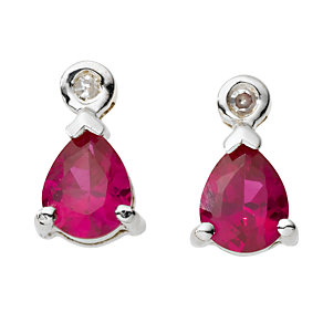 9ct white gold created ruby and diamond stud earrings - Product number 6864244