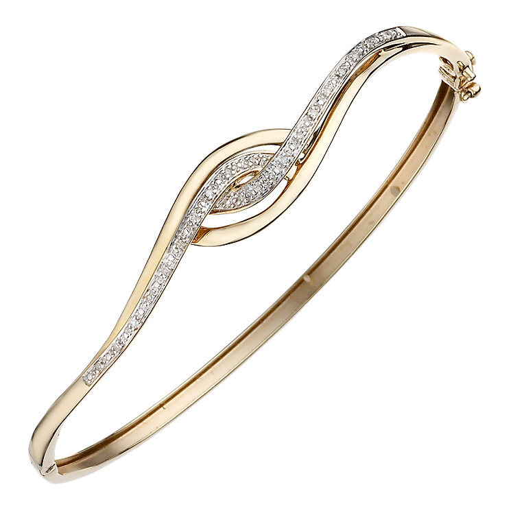 9ct gold diamond crossover bangle - Product number 6864309