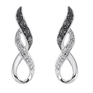9ct white gold white & black treated diamond earrings - Product number 6864341