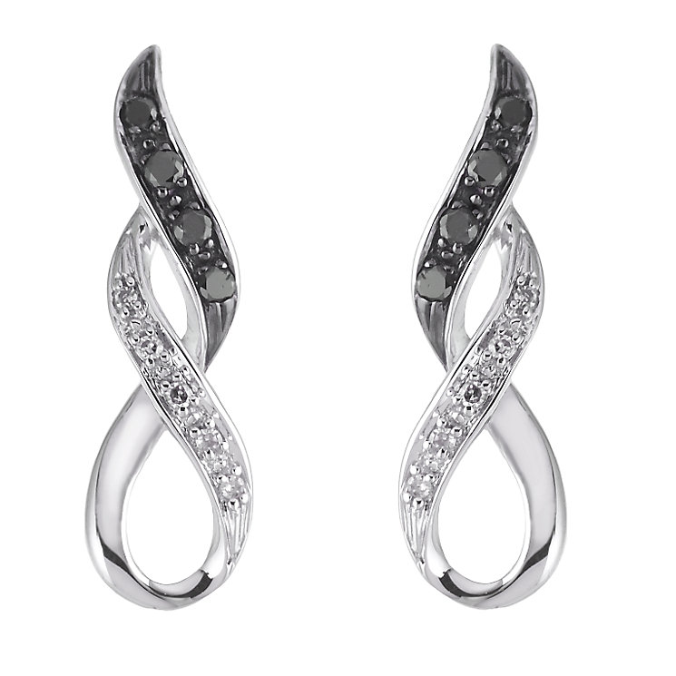 9ct white gold white & treated black diamond earrings - Product number 6864341