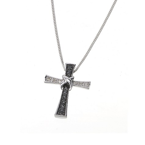 9ct white gold black and white diamond cross necklace