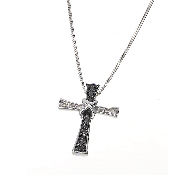 9ct white gold white & treated black diamond cross necklace - Product number 6864406