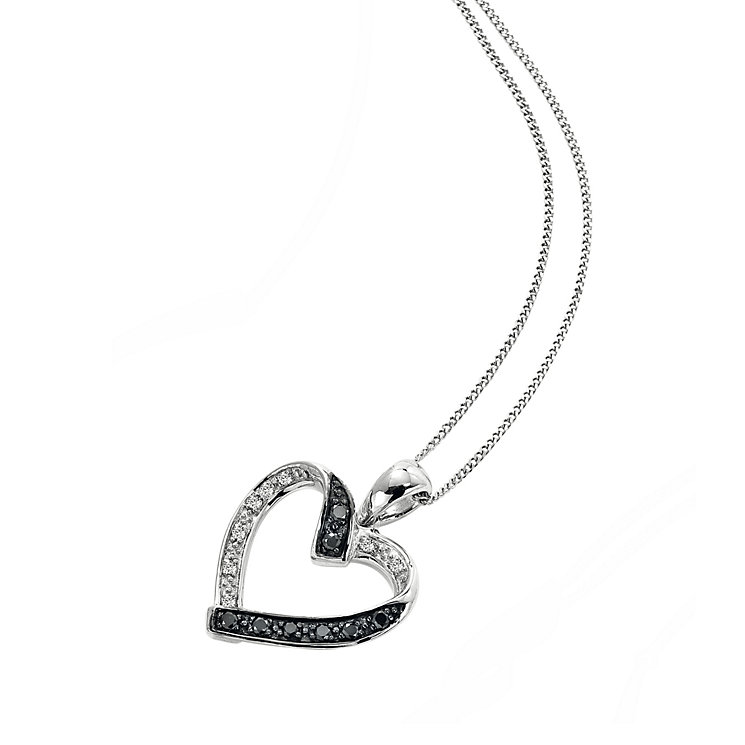 9ct white gold white & treated black diamond heart pendant - Product number 6864422