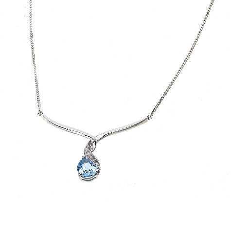 9ct white gold blue topaz and diamond wave necklace