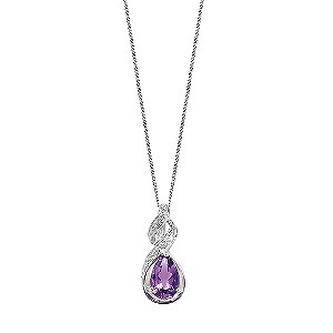 9ct white gold amethyst and diamond necklace - Product number 6864716