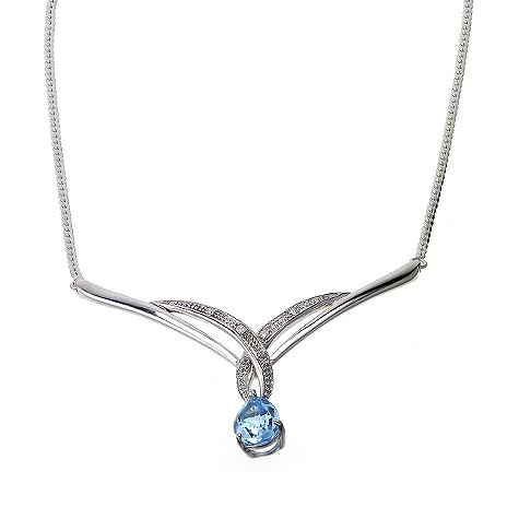9ct white gold blue topaz and diamond kiss necklace