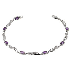9ct white gold diamond and amethyst crossover link bracelet - Product number 6864783