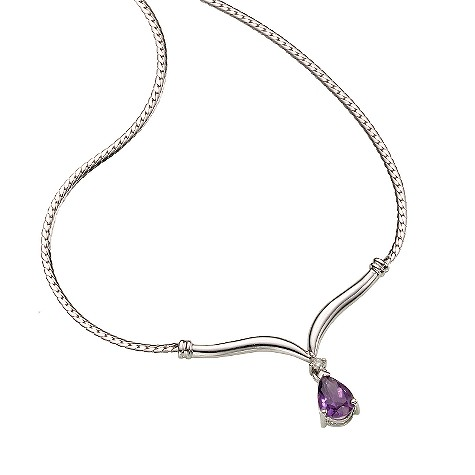 9ct white gold amethyst diamond necklace