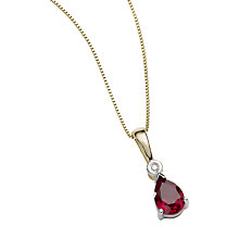 9ct two-colour gold created ruby and diamond pendant - Product number 6864996