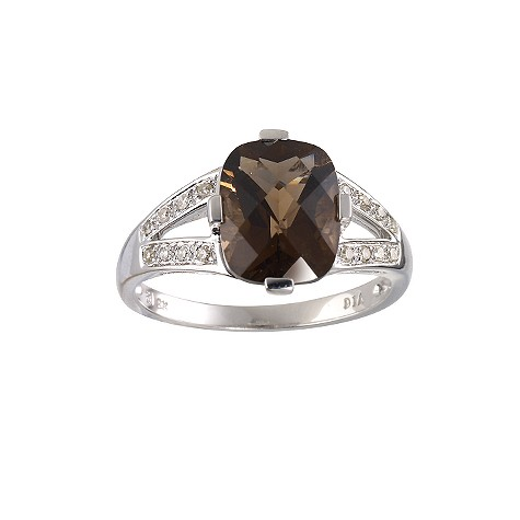 9ct white gold smokey quartz and diamond ring