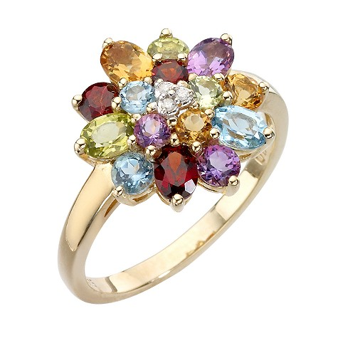 9ct gold diamond and multi coloured stones ring