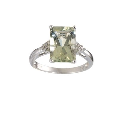 9ct white gold green quartz diamond ring Ernest Jones