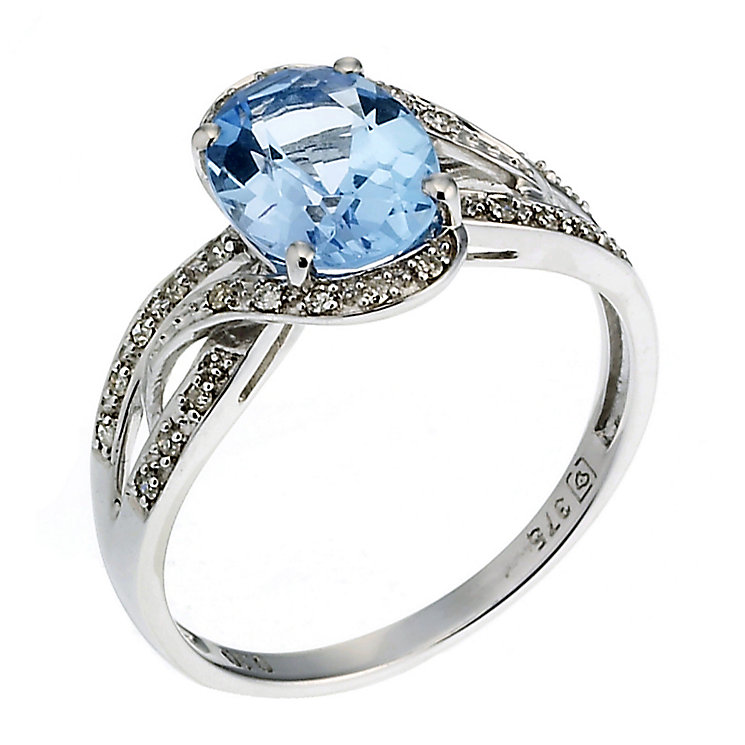 9ct white gold blue topaz and diamond ring - Product number 6867421