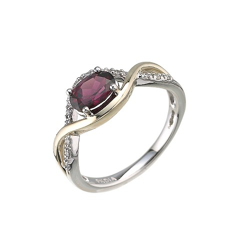 9ct two colour gold diamond and Brazilian garnet ring