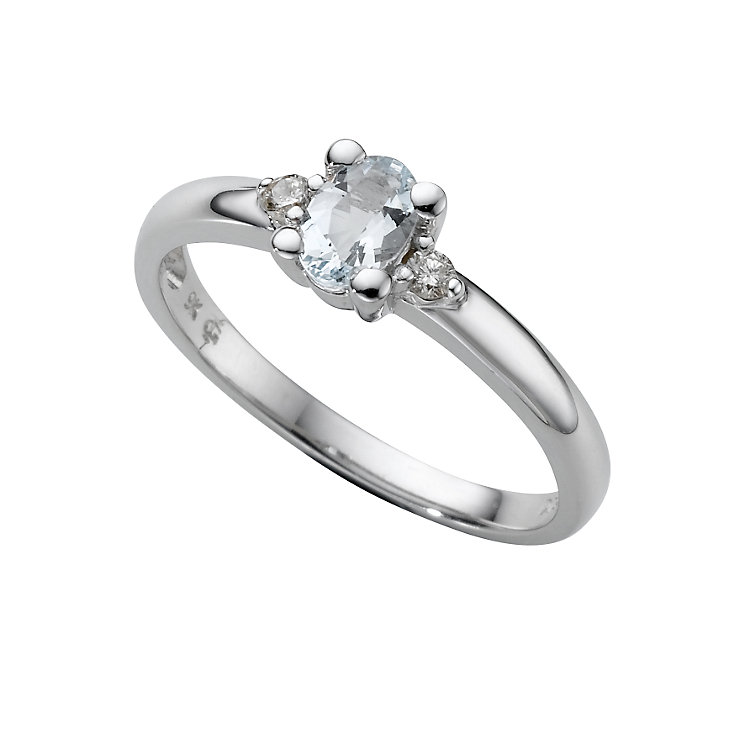 9ct white gold aquamarine and diamond ring - Product number 6868134