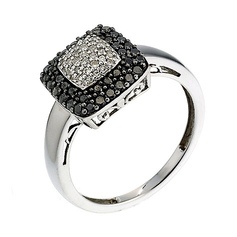 9ct white gold half carat black and white diamond ring