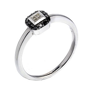 9ct white gold white & treated black diamond ring - Product number 6869785