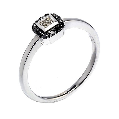 White gold black and white diamond ring
