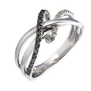 9ct white gold white & treated black diamond ring - Product number 6870058