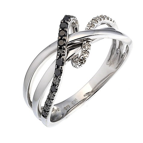 9ct white gold black and white diamond ring