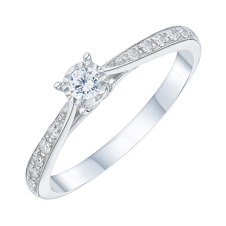 9ct white gold 0.16ct diamond ring - Product number 6889638
