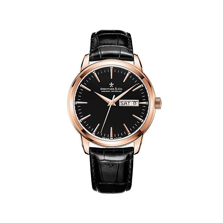 Dreyfuss & Co Men's Black Leather Strap Watch - Product number 6890083