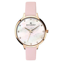 Accurist Ladies' Pink Leather Strap Watch - Product number 6891829