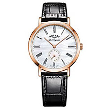 Rotary Gents' Rose Gold Plated Black Leather Strap Satch - Product number 6892124
