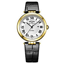 Rotary Ladies' Gold Plated Black Leather Strap Watch - Product number 6892140